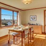 The sunny and spacious dining room faces south with another large picture window to let the outside territorial views in. The owner has personally restored or built the beautiful solid core wood doors in stunning detail.  Yes, that is a swinging door into the kitchen!